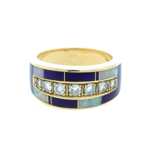 Vintage 14K Yellow Gold Ray Tracey Diamond Opal & Enamel Ring