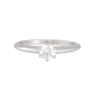 Tiffany & Co  Platinum with 0 42ct Diamond Engagement Ring Size 6 75