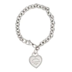Tiffany Co 18k White Gold Return To 0 26ctw Diamond Heart Tag Bracelet