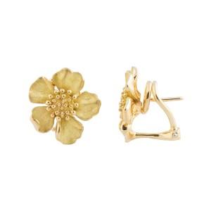 Tiffany & Co. 18k Yellow Gold Dogwood Flower Earrings