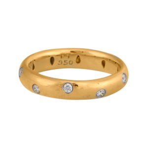 Tiffany & Co. 18K Yellow Gold and Platinum Etoile Diamond Band Ring Size 7.25