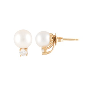 Tiffany & Co. 18K Yellow Gold Pearl and 0.10ct. Diamond Stud Earrings