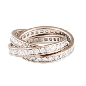 Cartier 18k White Gold Trinity Diamond Ring Size 5