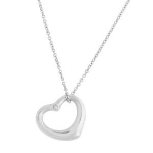 Tiffany & Co. Open Heart Diamond Sterling Silver Necklace