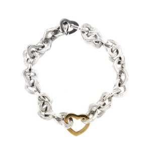 Tiffany & Co. 18k Yellow Gold and Sterling Silver Hearts Bracelet
