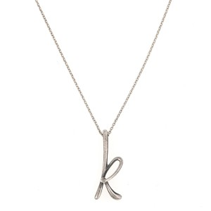 Tiffany & Co. Elsa Peretti Sterling Silver 'K' Charm Necklace