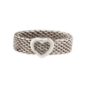 Tiffany & Co. 925 Sterling Silver Somerset Heart Ring Size 8