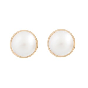 Tiffany & Co. 18k Yellow Gold Mabe Pearl Stud Earrings