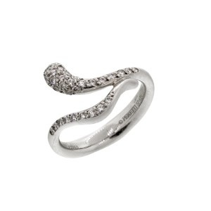 Tiffany & Co. Platinum Elsa Peretti Elongated Teardrop Pave Diamond Ring