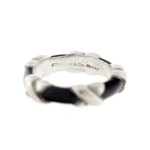 Tiffany & Co. Sterling Silver Black Enamel X Ring