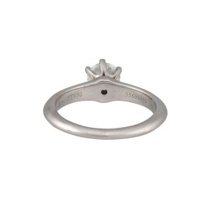 Tiffany & Co. 950 Platinum Solitaire 0.64ctw Diamond Ring Size 5.25
