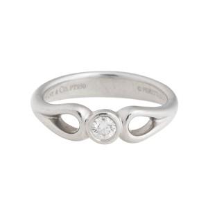 Tiffany Elsa Peretti Platinum 0.10 Ct Diamond Ring Size 6.5
