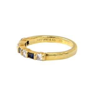 Tiffany & Co. 18K Yellow Gold 0.25ct Diamond & 0.10ct Sapphire Band Ring Sz 5