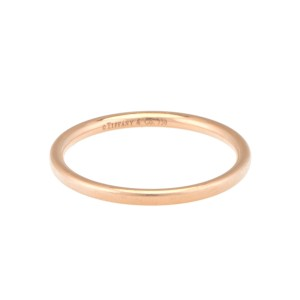 Tiffany & Co. 18k Rose Gold Thin Stack Ring Size 7.75