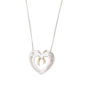 Tiffany & Co. Yellow Gold and Sterling Silver Heart Ribbon Pendant Necklace
