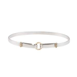 Tiffany & Co. Sterling Silver and 18K Yellow Gold Hook Bangle Bracelet