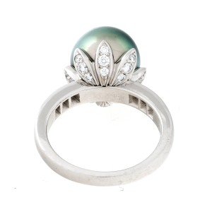 Tiffany & Co. Platinum Pearl and 0.75ct. Diamond Ring Size 7