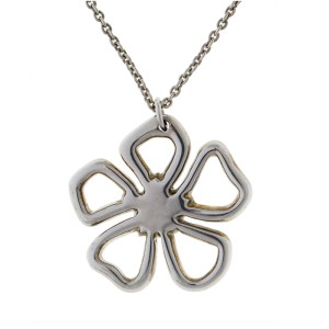 Tiffany & Co. Sterling Silver Open Flower Pendant Necklace