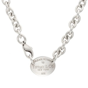 Tiffany & Co. Sterling Silver Oval Tag Necklace