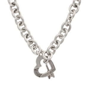 Tiffany & Co. Sterling Silver Heart and Arrow Toggle Necklace