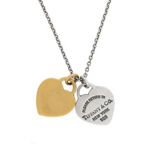 396f70d70 Tiffany & Co. Sterling Silver 18K Yellow Gold Return To Tiffany Double Heart  Tag Pendant Necklace | Tiffany & Co. | Buy at TrueFacet