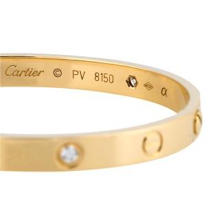 Cartier 18k Yellow Gold 4 Diamond Love Bracelet Size 17