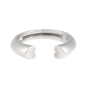 Tiffany & Co. Paloma Picasso Sterling Silver Modern Heart Open Ring Size 5