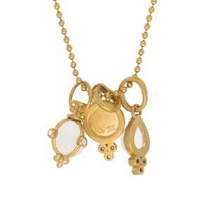 Temple St. Clair 18K Yelllow Gold with Rock Crystal Moonstone and 0.14ct Diamond Classic Charm Necklace