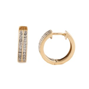 14K Yellow Gold & 0.25ct Diamond Huggie Earrings