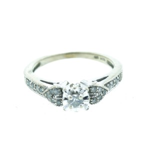 10K White Gold Diamond Engagement Ring