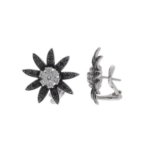 18k White Gold White and Black Diamond Flower Earrings