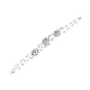 18k White Gold Floral 2.5 Ct Diamond Bracelet