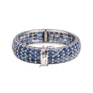 Sterling Silver Natural Blue Sapphire Bracelet