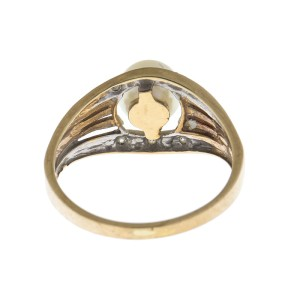 10K Yellow Gold 0.05 Ct Diamond and Pearl Ring Size 6