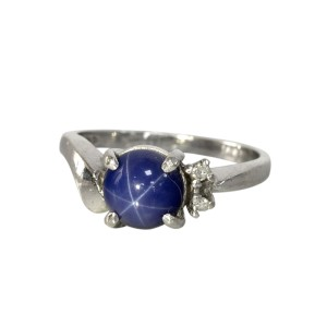 14k White Gold Diamond and Blue Star Sapphire Ring