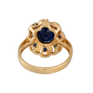 14K Yellow Gold Sapphire Ring Size 8