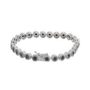 14K White Gold 1.50 Ct Black and 2.00 Ct White Diamond Bracelet