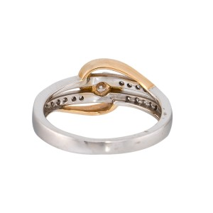 14K White Gold and Yellow Gold and Diamonds Ring Size 8.25