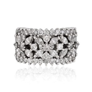 14K White Gold Diamond Floral Band Ring Size 7