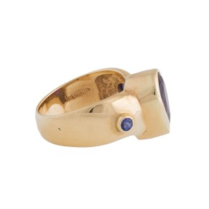 14K Yellow Gold Tanzanite and 3.00 Ct Amethyst Ring Size 6
