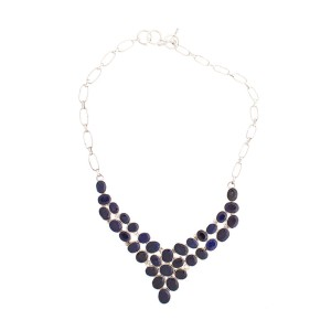 Silver Blue Sapphire Necklace