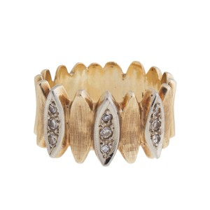 14K Yellow Gold Diamond Vintage Wide Band Ring