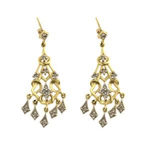 14k Yellow Gold and Diamond Chandelier Earrings