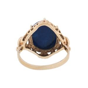 10K Yellow Gold  Lapis Filigree Ring Size 4.5