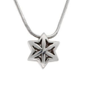 14K White Gold Star of David Diamond Pendant Necklace