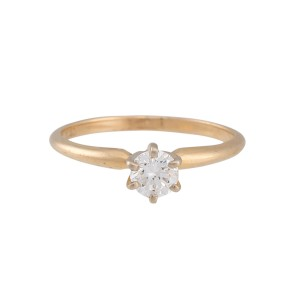 14K Yellow Gold Solitaire 0.40ctw Diamond Engagement Ring Size 6.25