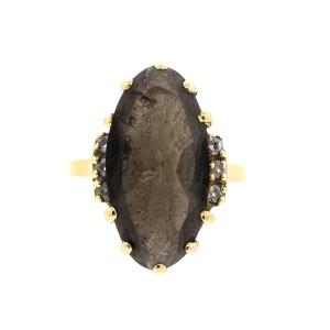 10k Yellow Gold Smokey Quartz and Diamond Ring