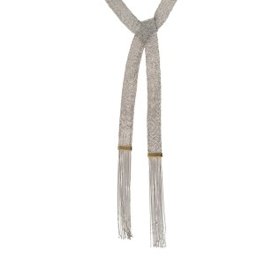 18K White Gold Woven with Fringe Necklace
