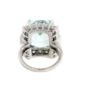 14k White Gold Aquamarine Sapphire and Diamond Ring