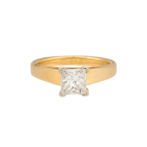14K Yellow Gold Princess Cut Solitaire 1.01ctw Diamond Ring Size 6